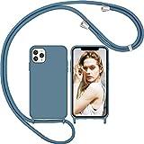Nupcknn Liquid Silikon Handykette Hülle für iPhone 11 Pro Hülle Silikon Necklace(abnehmbar) Hülle mit Kordel zum Umhängen Handy Schutzhülle mit Band (Ziegelblau)