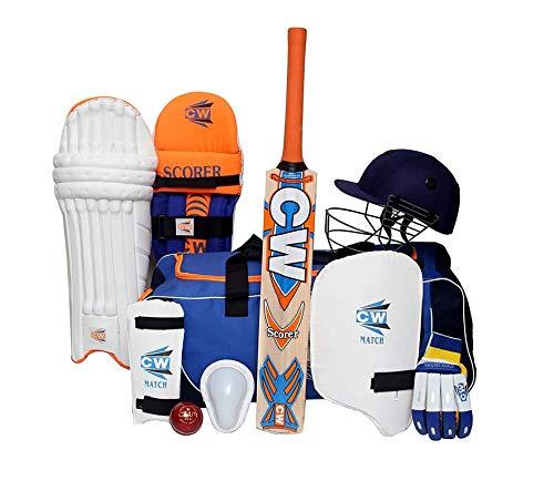 CW SCOREMASTER Cricket-Set für Senioren beinhaltet Kaschmir-Weidenschläger-Set, volle Größe, Räder, Tasche, Cricket-Tasche für Herren, komplettes Cricket-Set für Erwachsene