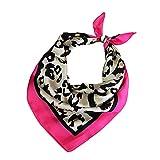 Las mujeres pañuelos de gasa estampado de animales del leopardo del cuello del abrigo bufanda escarpada multifunción bufanda de la seda pequeña plaza Wraps Chales (Leopard Rose Red Edge)