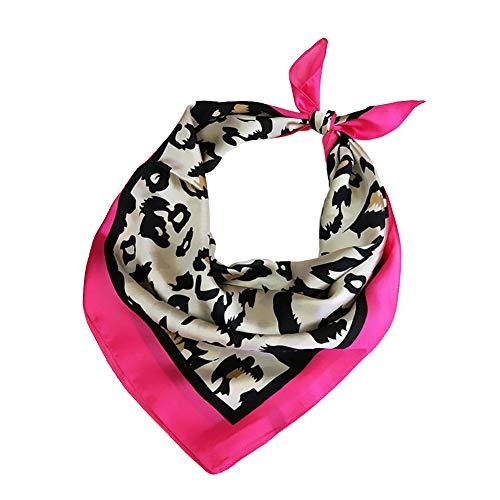 Las mujeres pañuelos de gasa estampado de animales del leopardo del cuello del abrigo bufanda escarpada multifunción de poliéster bufanda de seda de raso Plazoleta Wraps Chales