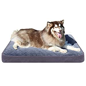 Hero Dog Large Dog Bed Orthopedic Pet Beds 48 Inch Washable Soft Dog Crate Pad Mat Anti Slip Sleeping Mattress with Removable Cover, Light Grey XXL