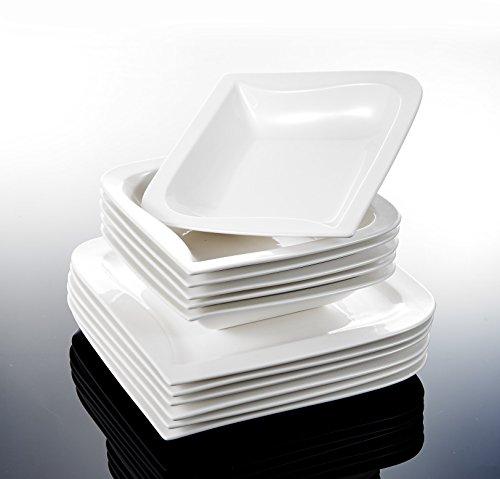 MALACASA, Serie Joesfa, CremeWeiß Porzellan Tafelservice 24 TLG. Set Kombiservice Geschirr Set mit je 12 Flachteller, 12 Suppenteller für 12 Personen