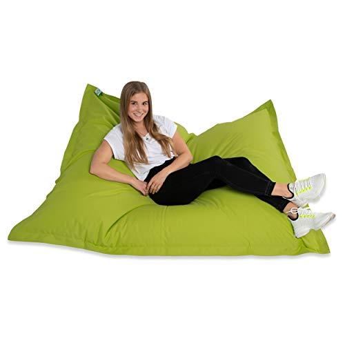 Green Bean © Square XXL Riesensitzsack 140x180 cm - TÜV geprüft - 380Liter EPS Perlen Füllung - PVC Bezug - In- und Outdoor Sitzsack - Sitzkissen Bean Bag Bodenkissen - Grün