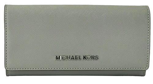 Michael Kors Geldbörse Portemonnaie Carryall Jet Set Travel Saffiano-Leder Grau aschgrau Large