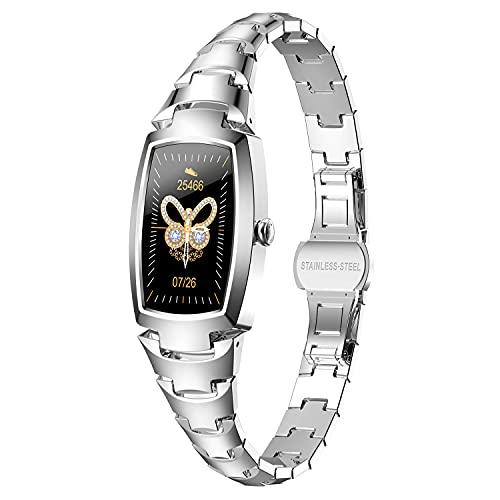 PHIPUDS Smartwatch Mujer, Reloj Inteligente Impermeable IP67 con Smart Watch Monitor de Sueño Pulsómetros Cronómetros Contador de Caloría,Control de Musica, iOS y Android Plata