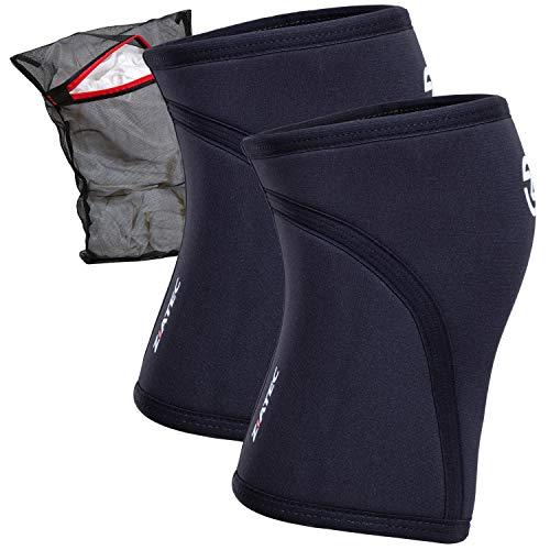 Ziatec 5 mm Neopren Kniebandage [Stück oder Paar] | Bandage für Crossfit, Gewichtheben etc Wäschenetz, Größe:XL, Farbe:Schwarz - 1 Stück