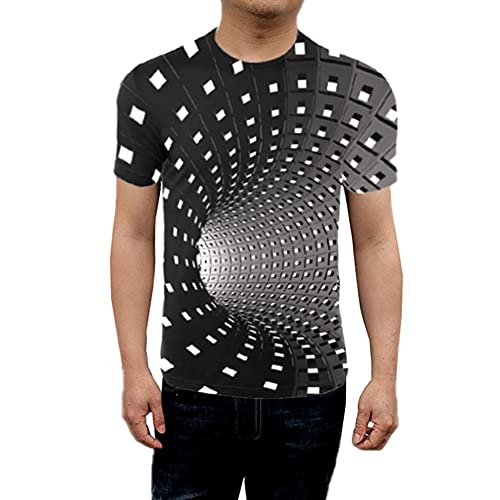 Ganghuo Herren Damen Kurzarm T-Shirt 3D Swirl Print Optical Illusion Hypnosis Tee Tops