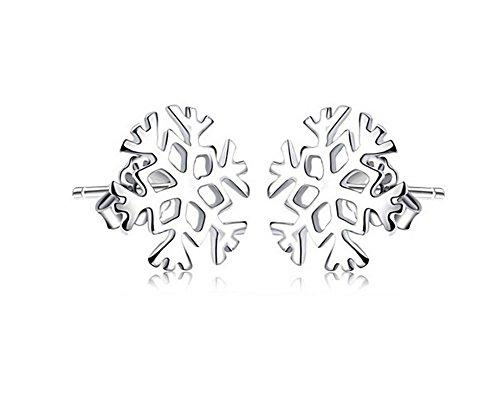 Qinlee Damen charmant Winter Doppel Symbol Schneeflocken Blumen Creolen Ohrschmuck aus Frozen Edelweiss Ohrstecker