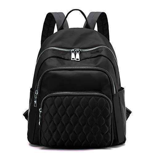 BMVMB Nylon Women Backpacks Casual Lightweight Strong Backpacks Purse Fashion Rucksack Daypack for Women Lady Girl Teenager (Black)