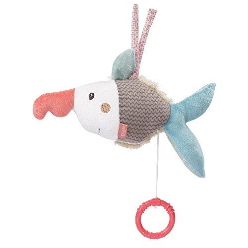 Fehn 060126 muziekdoos zaagvis | Optrek-speeldoos met uitneembaar speelwerk om op te hangen, knuffelen en grijpen | Voor baby's en peuters vanaf 0 maanden