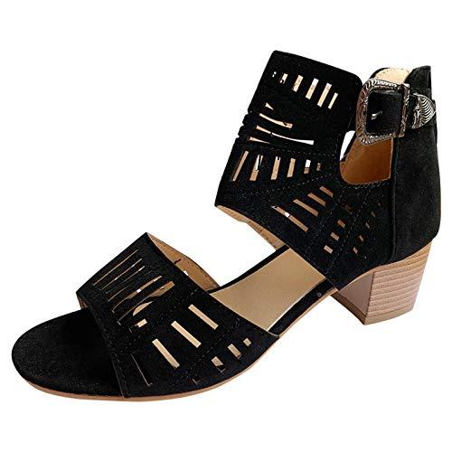Generic Femme Sandales Mode Compensées Talon Plateforme Lanière Cheville Chic Sandale Elegantes Talons Hauts Chaussures Évider Rétro Chaussures Femme