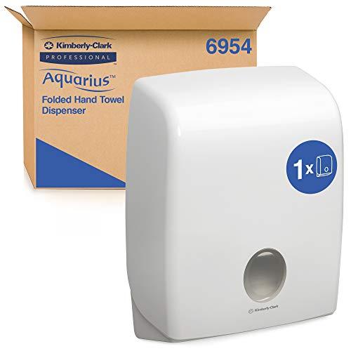 Aquarius Papierhandtuchspender für Handtücher mit C-Faltung, Wandmontierter Handtuchspender, Hygienische Einzelblattentnahme, Weiß, 6954