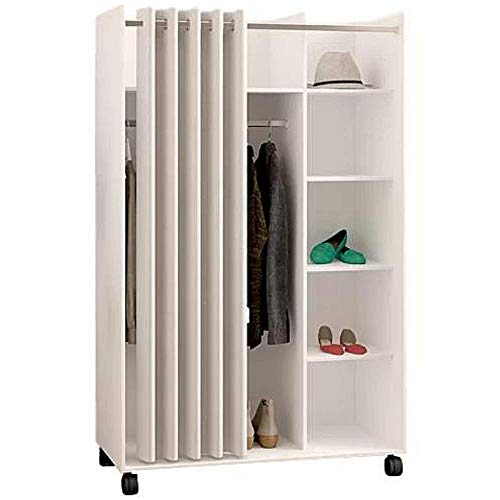 Best Deals! BS Cube Armoire Closet Wardrobe with Wheels Hanging Rod White Grommet Curtain Divided Sh...