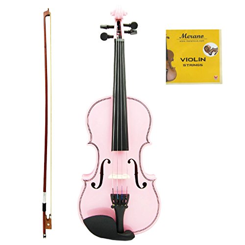 Merano MV100 Student Violin with Hard Case, Bow, Rosin and Extra Strings (1/8, Light Pink)