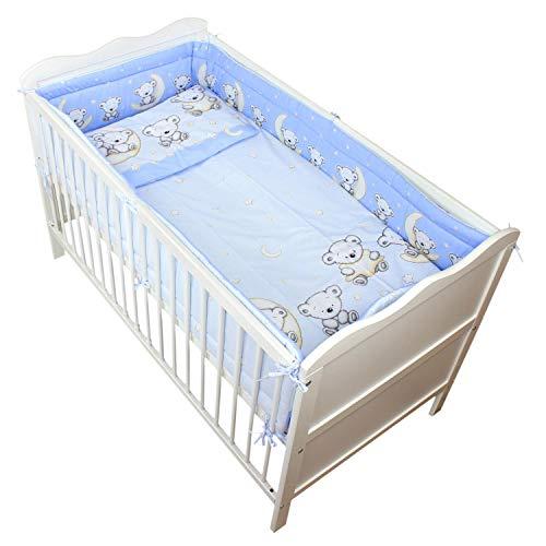 TupTam Baby Bettwäsche mit Nestchen 3-TLG, Farbe: Bärchen Mond Blau, Anzahl der Teile:: 3 TLG. Set
