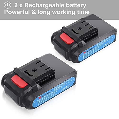 KOMOK Forbici a Batteria 21V Cesoie Elettriche Professionali per Potatura con Display a LED Paramano 2 Pezzi di Batterie Ricaricabile al Litio 2Ah 30 mm (1,2 Pollici),6-8 Ore di Lavoro(Blu)