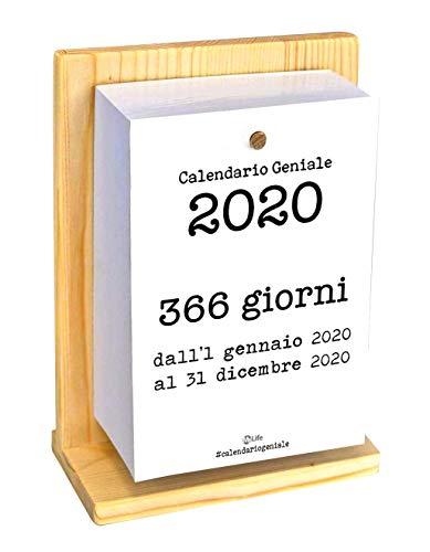 Calendario Geniale 2020 con Supporto. Leggi le frasi filosofiche con il comodo supporto in legno di Abete naturale