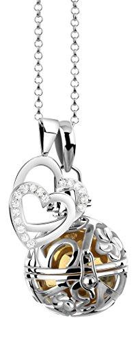 Collar para mujer de 80 cm con llamador de ángeles, incluye bola y corazones, colgante de plata de ley 925