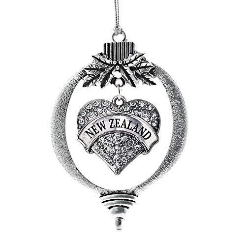 Inspired Silver - New Zealand Charm Ornament - Silver Pave Heart Charm Holiday Ornaments with Cubic Zirconia Jewelry