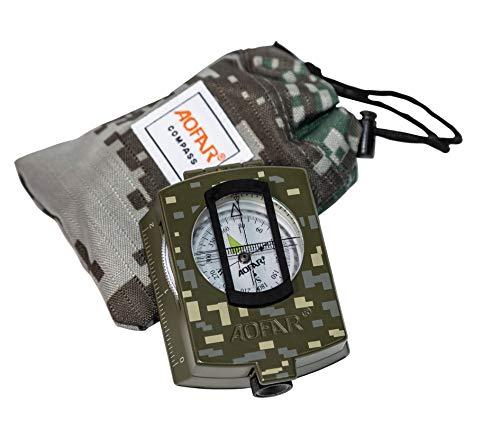 AOFAR AF-4580 brújula militar visionado de lentes, fluorescente, impermeable y a prueba de sacudidas con medidor de mapas, calculadora de distancias, bolsa para acampar, excursionismo, caza, mochila