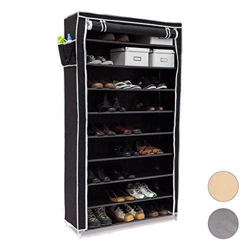 Relaxdays Schuhschrank VALENTIN hoch HxBxT: 161 x 88 x 30 cm Schuhregal mit Stoffbezug und 10 Ablagen Stoffschrank mit Reißverschluss für staubfreie Lagerung Schuhständer für 45 Paar Schuhe, anthrazit