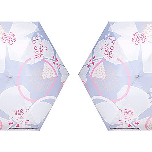 TreeLeaff Paraguas de verano con diseño creativo y diseño de dibujos animados triple plegable a prueba de agua, se adapta a bolso paraguas portátil con revestimiento de teflón