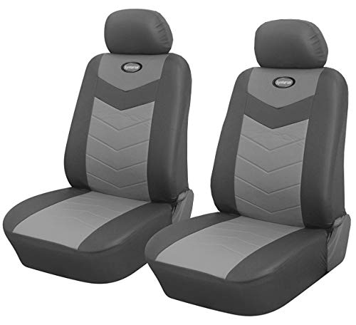 Protech Auto Pair of Two Front Bucket Car Seat Cover Fit for Toyota Tacoma RAV4 Camry Corolla 4 Runner Highlander, PU Synthetic Leather, Airbag Compatible, Non-Slip Seat Protector 115902 Grey