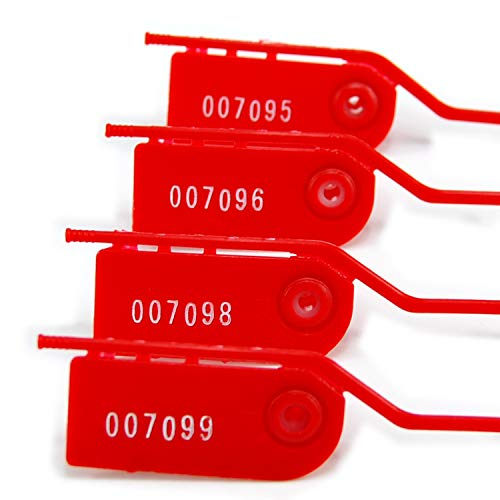 1000 Safety Tag, Numbered Anti-Tamper Pull Tight Security Seals for Fire Extinguisher Self-Locking Plastic Secure Ties(Red)