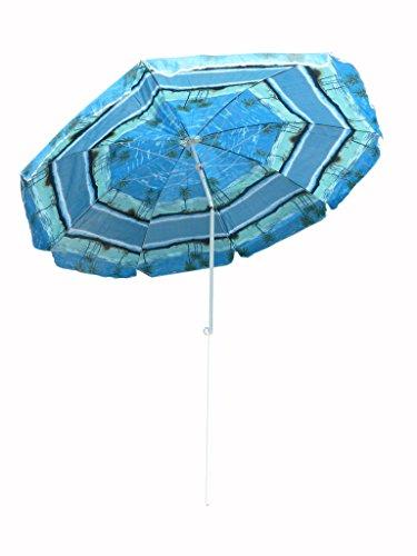 Ikumaal SO28 Sonnenschirm-e Ø 220cm, blau-er Balkon-Schirm UV Sonnen-Schutz Terrasse-n Strand Garten-Möbel UV- und Sicht-Schutz im Sommer