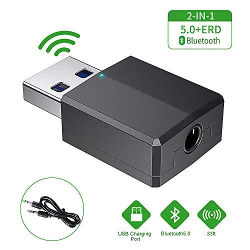 Comter Bluetooth Adapter, Bluetooth 5.0 Sender und Empfänger,Bluetooth USB Dongle Stick 2-in-1 Wireless 3.5mm Adapter,Low Latency,2 Geräte gleichzeitig, für TV/Home Sound System