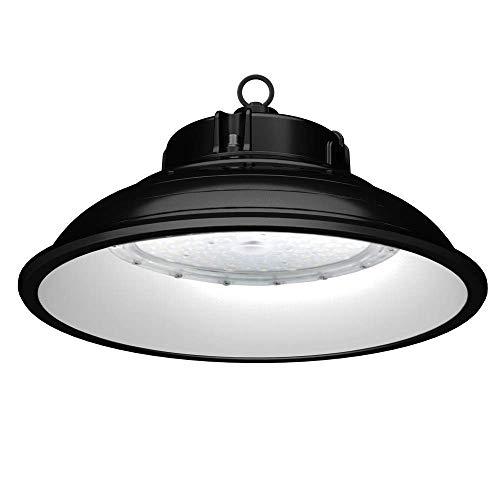 Anten LED Hallenstrahler 150W mit 19500LM in Kaltweiß(6000-6500K), LED Hallenleuchte LED High Bay Lichts Industrial Kronleuchter Werkstattbeleuchtung, LED UFO Industrielampe Schutzart IP65, Schwarz