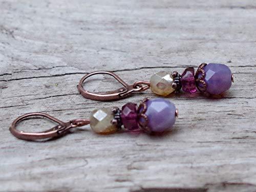 Vintage Ohrringe mit böhmischen Glasperlen - lavendel, flieder opal, lila, aubergine, beige & kupfer