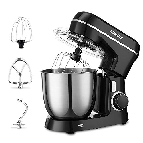 Stand Mixer, AlfaBot SM-1531 4.8Qt Electric Kitchen Mixer with Dough Hook Flat Beater and Whisk, Tilt-Head 10 Speed Food Mixer with Stainless Steel Bowl and Splash Guard