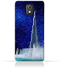 HTC Desire 526G PlusTPU Silicone Protective Case with Burj Khalifa and Water Fountain on a Starry Night Design