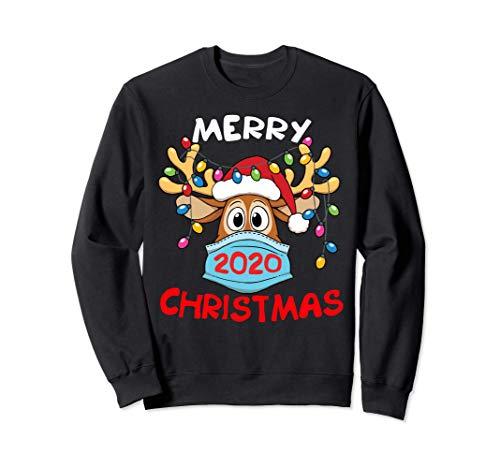 Reindeer In Mask And Garland Funny Merry Christmas 2020 Sweatshirt