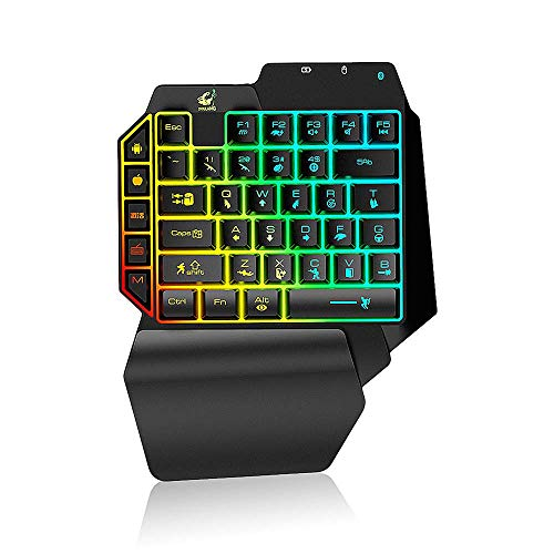Gaming-Tastatur mit einer Hand, mechanisches Gefühl der Tastatur und Handauflage Mini-Spiele, G11 Mobile Gaming Board Bluetooth 4.2 Tastatur-Kabel-Konverter-Adapter IOS integrierten USB-Schwarz