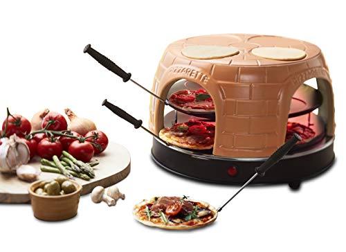 Emerio Pizzaofen, PIZZARETTE das Original, handgemachte Terracotta Tonhaube, patentiertes Design, für Mini-Pizza, echter Familien-Spaß für 8 Personen, PO-116124.1