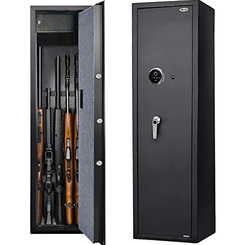 Moutec Large Biometric Rifle Safe, New and Improved Fingerprint Long Gun Safe for 5-7 Rifle Shotgun for Home, Quick Access Gun Storage Cabinet (with/Without Scope) with Handgun Lockbox Slient Mode