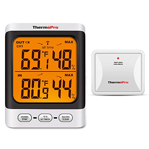 ThermoPro TP62 Higrómetro Inalámbrico Digital Termómetro para Interiore y Exteriore Medidor de Temperatura y Humedad con Pantalla LCD Retroiluminada, Rango de 60m