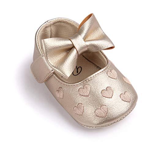 Auxma Baby schuhe mädchen Bowknot-lederner Schuh-Turnschuh Anti-Rutsch weiches Solekleinkind für 0-18 Monate (12(6-12M), Gold)