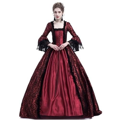 TMOYJPX Vestido Medieval Mujer Gotico Palacio Halloween Disfraz Bruja mujer Gracioso Tallas Grandes, Disfraces Medievales Vestidos de Fiesta Elegantes (Vino tinto, S)