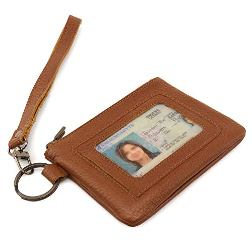 Otto Angelino Genuine Leather Zippered ID Wallet with Wrist Strap Card Holder – Unisex