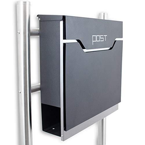 BITUXX Freistehender Design Standbriefkasten Briefkastenanlage Hausbriefkasten Postkasten Edelstahl mit Zeitungsfach Einwurf und Front Anthrazit Graphit Optik