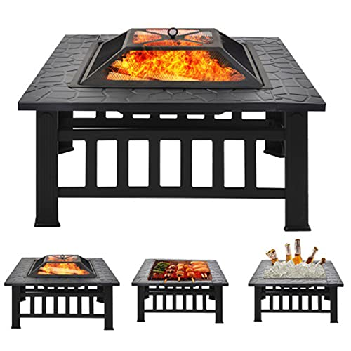 WYYUE Fire Pit with BBQ Grill Shelf, Barbecue Brazier, Outdoor Metal Brazier Square Table Garden Patio Heater/BBQ/Ice Pit with Waterproof Cover (3 in 1Fire Pit & Grill)