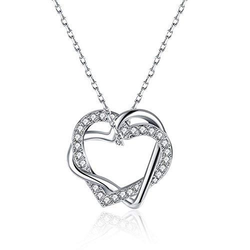 Kreuz Doppelherz Anhänger Halsketten Silber Farbe Luxus Strass Kette Kette Halsketten Für Frauen Valentinstag GeschenkeSilber