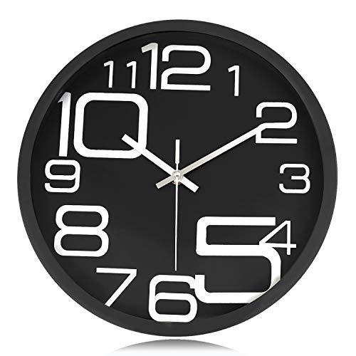 Lafocuse Reloj de Pared Silencioso Metal Industrial Reloj Cuarzo con Grandes Números Negro para Salon Comedor Dormitorio 30 cm