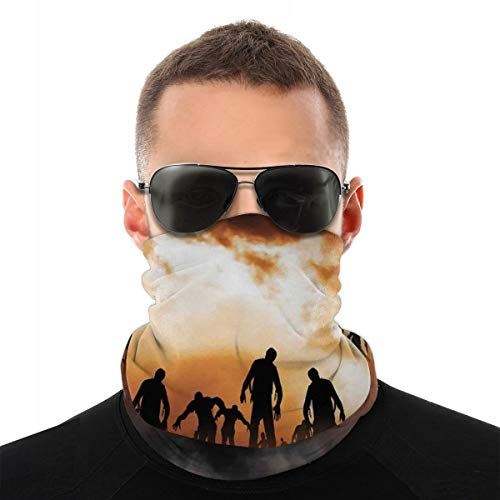 WANGKG Cubierta facial, polaina para el cuello, zombies Dead Men Walking Body In The Doom Mist At Night Sky Haunted Theme Print, pasamontañas, bufanda