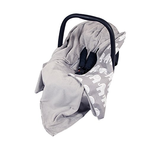 New Double-Sided Baby WRAP for CAR SEAT/Baby Travel WRAP/Baby CAR SEAT Blanket - Grey/Grey with White Elephants WRAP/Blanket/Cover/COSYTOES - FOOTMUFF! 100x100cm - WRAP with SEAT Belt Holes