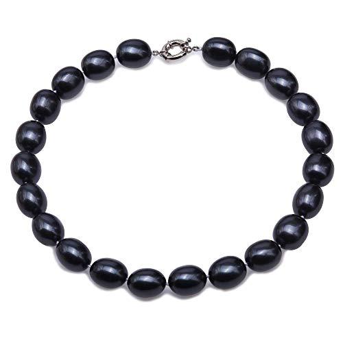 JYX Perlenkette 14,5 x 19,5 mm Schwarze Südseeperle Halskette Ovale Perlen Halskette für Frauen 44,5 cm