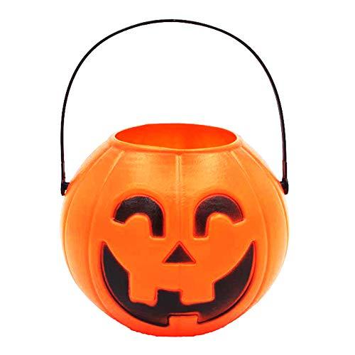 Preisvergleich Produktbild TankMR Handheld Halloween Kürbis Flammenlose LED Laterne Lampe Teelicht,  Realistische Helle Flackernde Birne Batterie Betrieben,  Halloween-Dekor MNone
